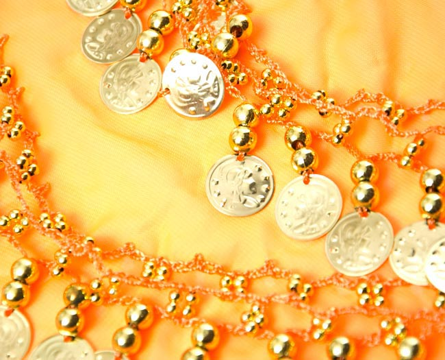 ベリーダンス ヒップスカーフ 150コイン - オレンジ 3 - 拡大写真です
