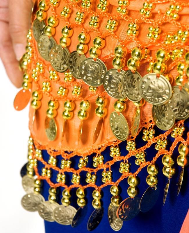 ベリーダンス ヒップスカーフ 150コイン - オレンジ 5 - 踊ったときの音も素敵な一品です