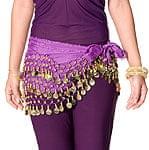 ベリーダンス ヒップスカーフ 150コイン - 濃い紫