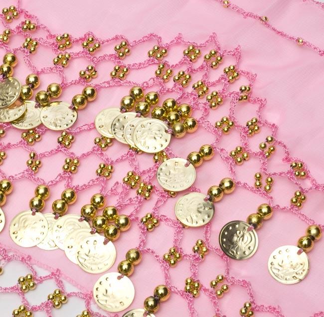 ベリーダンス ヒップスカーフ 150コイン - 淡いピンク 2 - コインが光を綺麗に反射してくれます!