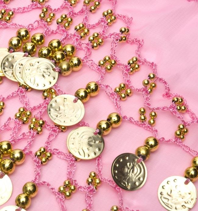 ベリーダンス ヒップスカーフ 150コイン - 淡いピンク 3 - 拡大写真です