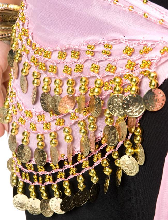 ベリーダンス ヒップスカーフ 150コイン - 淡いピンク 5 - 踊ったときの音も素敵な一品です