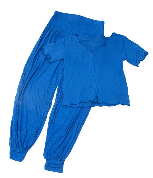 ベリーダンス マーセライズドレッスンウェア - 上下セットの写真12 - ブルー