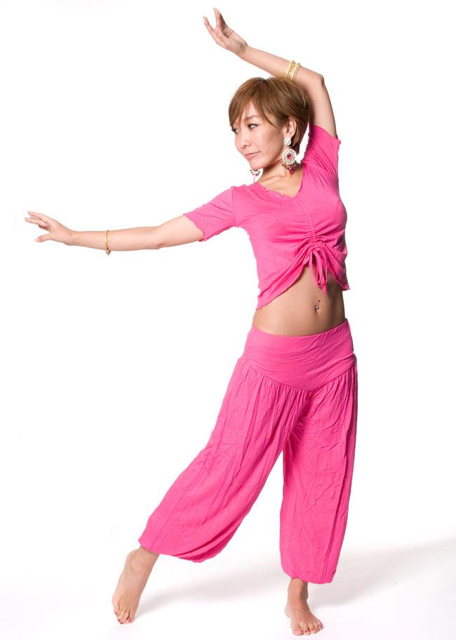 ベリーダンス マーセライズドレッスンウェア - 上下セットの写真7 - ビビッドピンク
