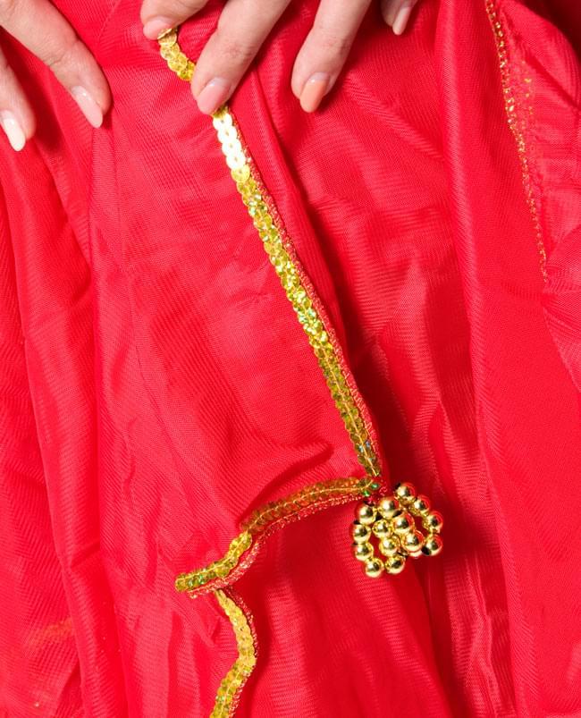 アラビアンフレアパンツ&コイン付きトップス  - 上下セット 7 - 縁には、ビーズ飾りが付いていて、少し低い音で動きに合わせてシャッシャと鳴ります。