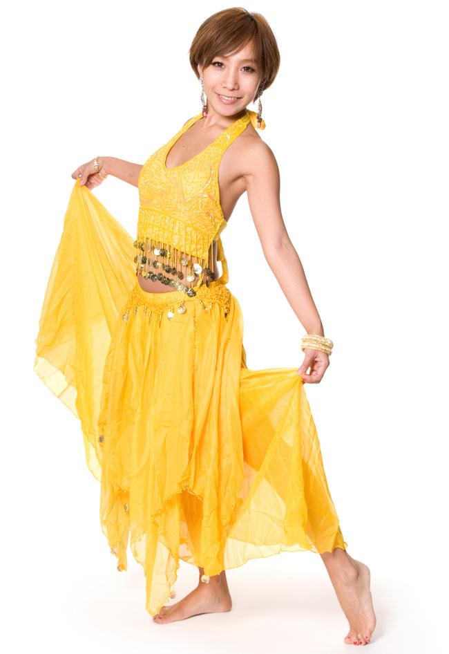 ベリーダンス コイン付きふんわりシフォンスカート 2 - シフォン生地により、踊りに合わせてふわりとしてくれます。