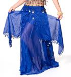 ベリーダンス コイン付きふんわりシフォンスカート-ブルー