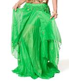 ベリーダンス コイン付きふんわりシフォンスカート-グリーン