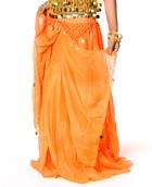 ベリーダンス コイン付きふんわりシフォンスカート-オレンジ