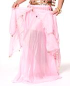 ベリーダンス コイン付きふんわりシフォンスカート-ピンク