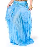 ベリーダンス コイン付きふんわりシフォンスカート-水色
