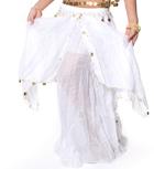ベリーダンス コイン付きふんわりシフォンスカート-ホワイト