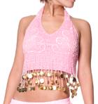 ベリーダンス コイン付きハート柄ブラトップ-薄ピンク