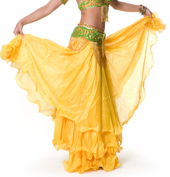 ベリーダンス シフォンフレアスカートの写真5 - ふんわりと、シフォン生地を三層重ねて作られております。
