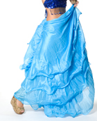 ベリーダンス シフォンフレアスカート-水色