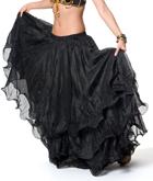 ベリーダンス シフォンフレアスカート-ブラック