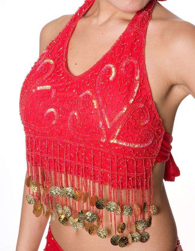 ベリーダンス・アラビアン衣装 - トップス&パンツ・アクセ・ベールセット 4 - ブラ部分の写真です