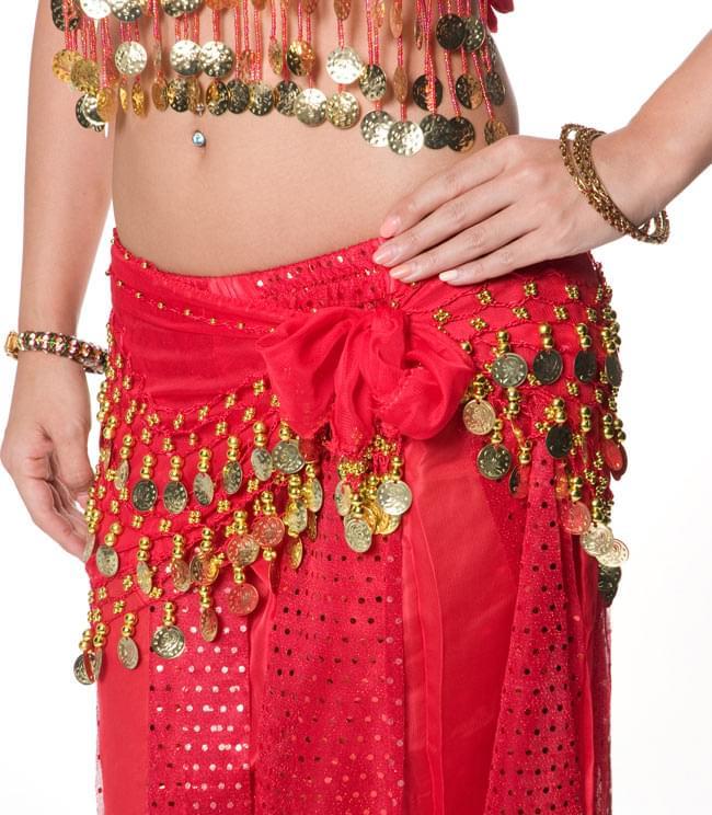 ベリーダンス・アラビアン衣装 - トップス&パンツ・アクセ・ベールセット 6 - ヒップスカーフも付いております。