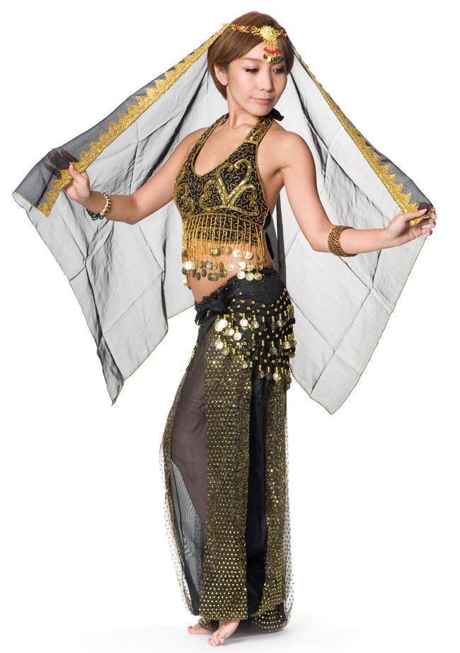 ベリーダンス・アラビアン衣装 - トップス&パンツ・アクセ・ベールセット 8 - 【ブラック】の場合、こちらになります。