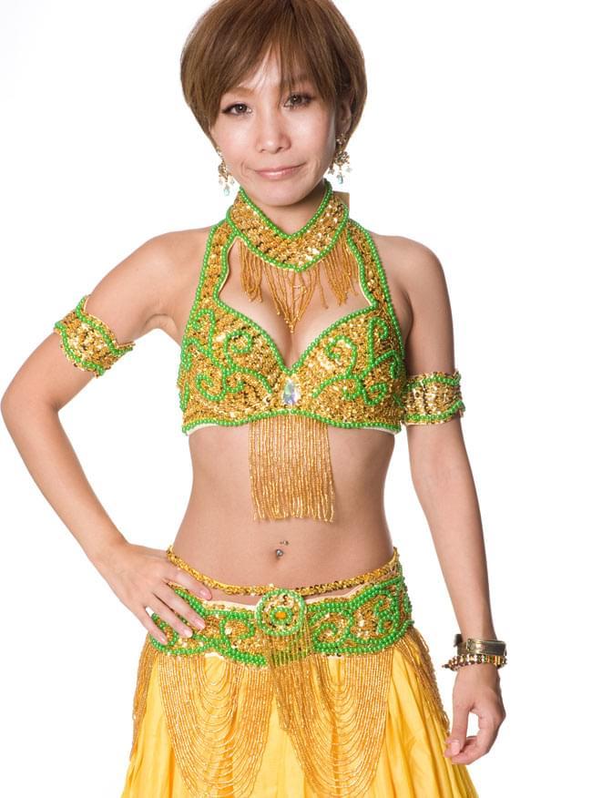 ベリーダンス衣装 ブラ&ベルトセット 9 - 【イエロー】の色はこちらになります。