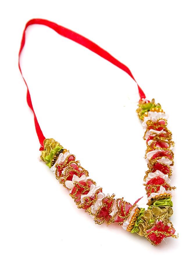 インドの造花ミニ 赤×黄緑×ゴールドの写真