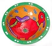 ミティラー村のカラフル素焼き皿 - 鳥