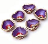 ミラー付きカラフル素焼き小皿6個セット ハート型(紫)