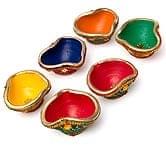 カラフル素焼き小皿6個セット 装飾付き