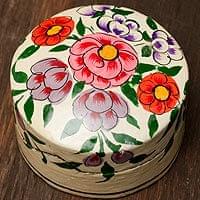 カシミールのペーパーマッシュ - 円形花がらベージュ小物入れ[小]