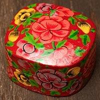 カシミールのペーパーマッシュ - 箱型花がら赤色小物入れ[小]