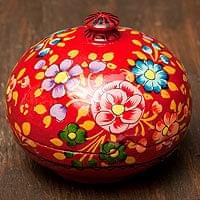 カシミールのペーパーマッシュ - 花がら赤色小物入れ[中]