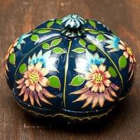 カシミールのペーパーマッシュ - かぼちゃ型の花がら小物入れ[中]