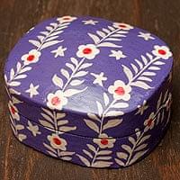 カシミールのペーパーマッシュ - 花がら箱型パープル小物入れ[中]