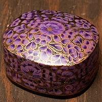 カシミールのペーパーマッシュ - 箱型金色パープル小物入れ[中]
