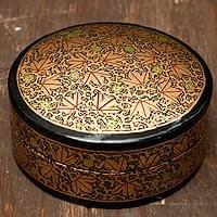 カシミールのペーパーマッシュ - 円形金色小物入れ[大]