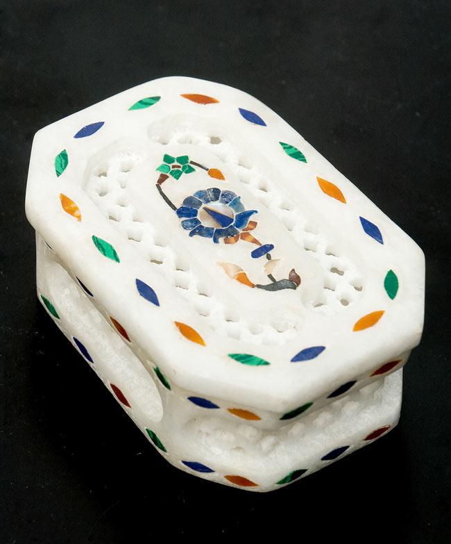 【ジュエル型】マーブルストーンの小物入れ[約8cm]の写真