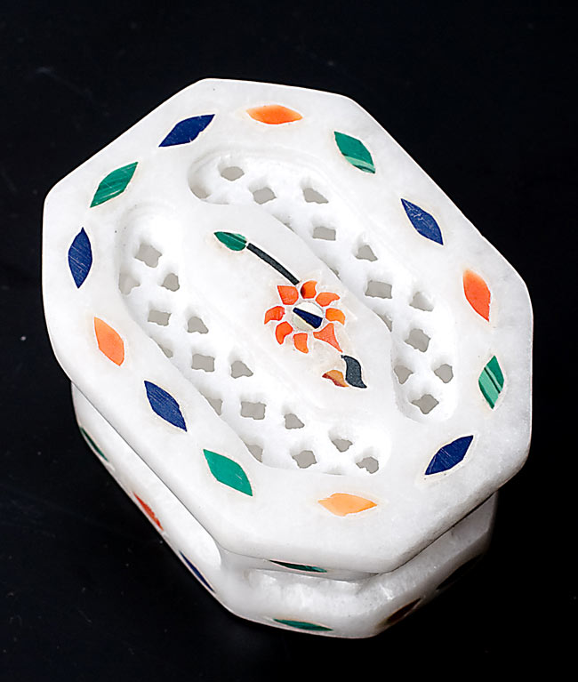 【ジュエル型】マーブルストーンの小物入れ[約5cm]の写真