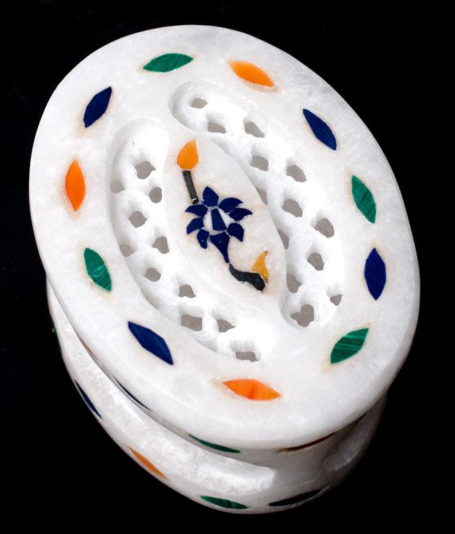 【楕円型】マーブルストーンの小物入れ[約5.5cm]の写真
