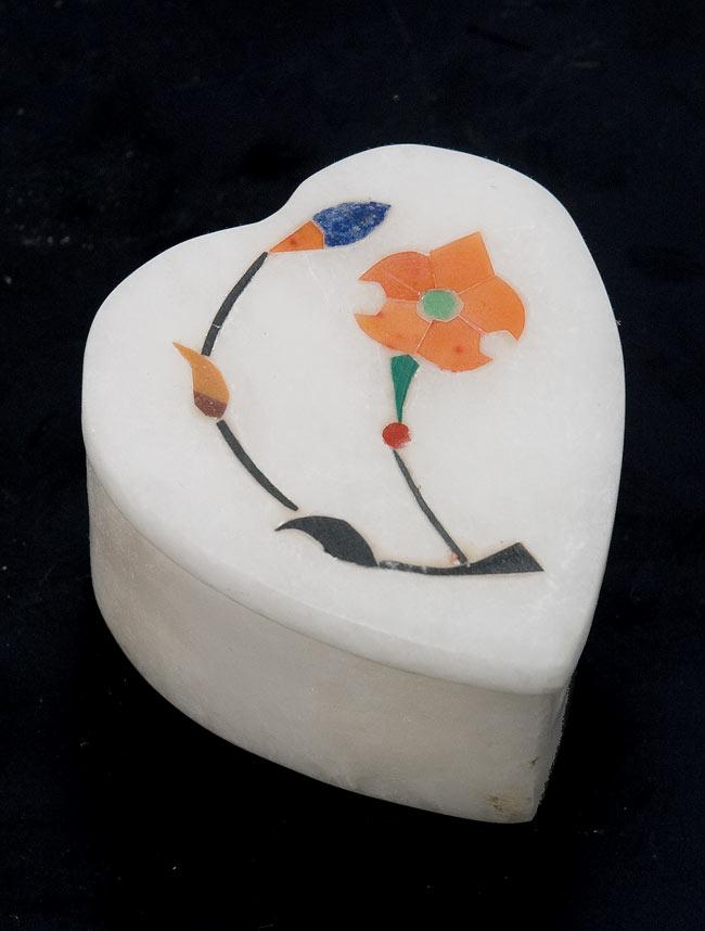 【ハート型】マーブルストーンの小物入れ[約5cm]の写真