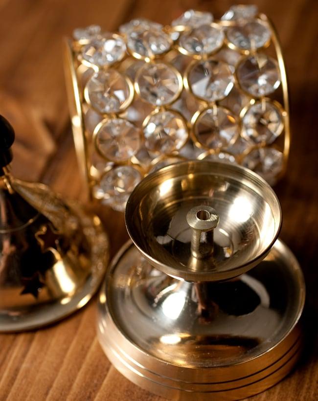 クリスタルガラスの円形オイルランプシェード〔15.5cm×7.7cm〕 4 - 中はこのようになっております。灯心が中心にくるように設置してください。