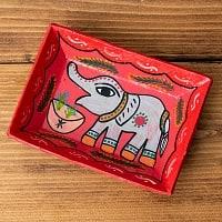 ミティラー村のカラフル飾り皿  - グレーの象さん