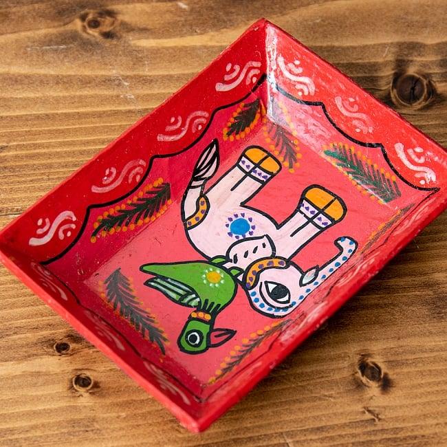 ミティラー村のカラフル飾り皿  - 鳥と象さん 3 - 角度を変えてみてみました。
