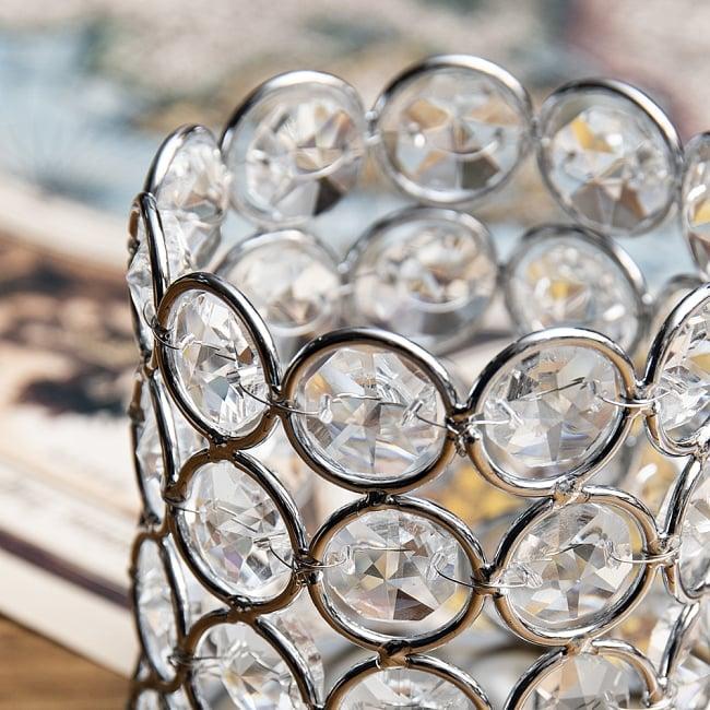 クリスタルガラスのキャンドルホルダー - シルバー 3 - 1つ1つワイヤーで編み込まれています。