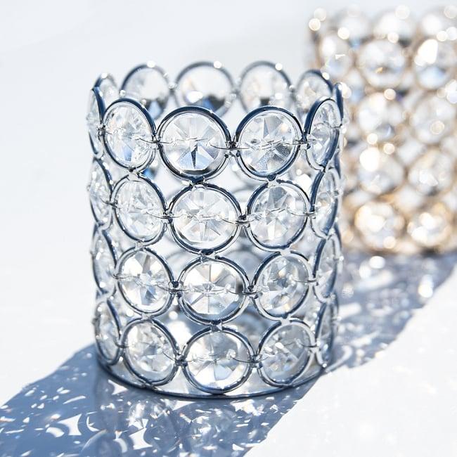 クリスタルガラスのキャンドルホルダー - シルバー 7 - 光を受けてキラキラと輝きます。