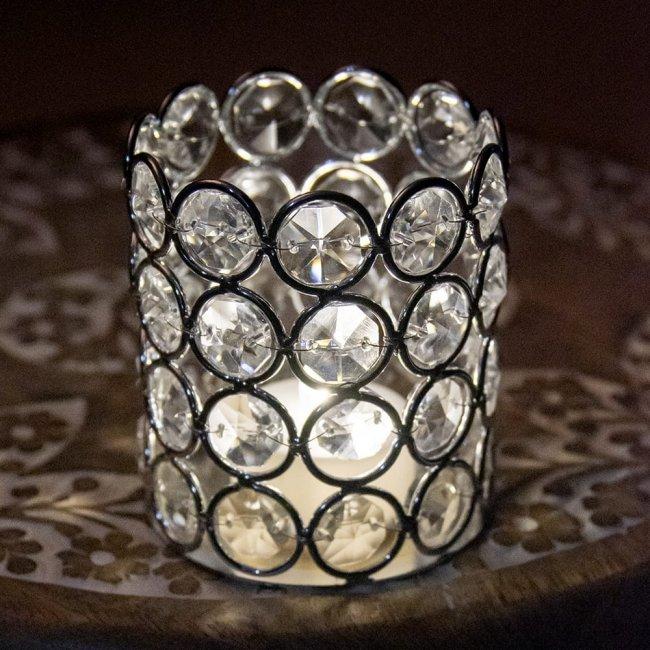 クリスタルガラスのキャンドルホルダー - シルバーの写真