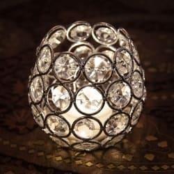クリスタルガラスのアラビアンキャンドルホルダー - シルバー【7.5cm×8.5cm】