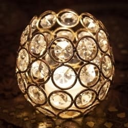 クリスタルガラスのアラビアンキャンドルホルダー - ゴールド【7.5cm×8.5cm】