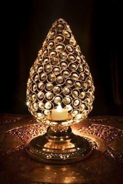 クリスタルガラスのアラビアンキャンドルホルダー - ゴールド【31cm×15.5cm】