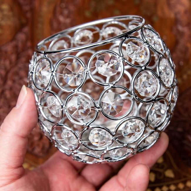 【金銀2色展開】クリスタルガラスのアラビアンキャンドルホルダー - ゴールド【高さ8.5cm】 10 - 手に取るとこれくらいの大きさです。