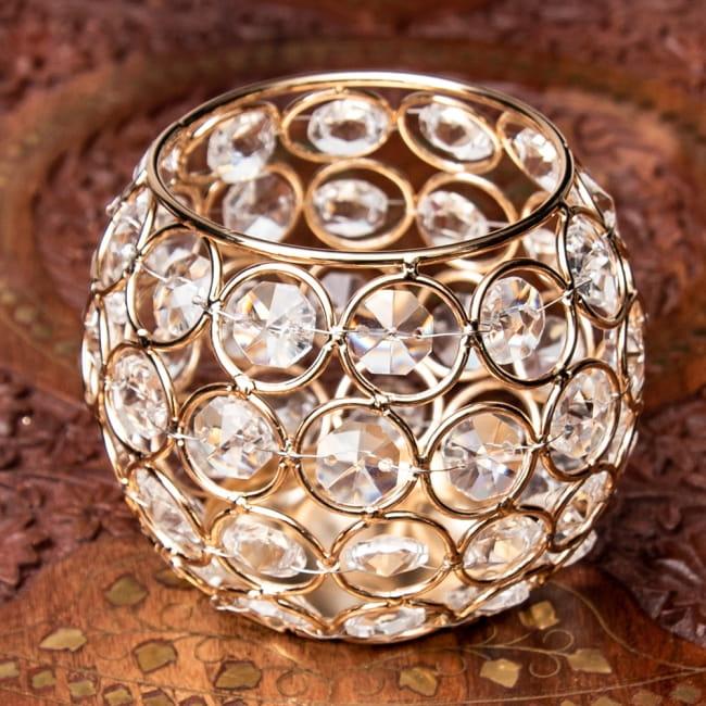 【金銀2色展開】クリスタルガラスのアラビアンキャンドルホルダー - ゴールド【高さ8.5cm】 11 - 1:ゴールド